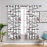 Xlcsomf Cortinas románticas de tamaño queen insonorizadas para ventana de privacidad, 99 cm de largo, fáciles de instalar, color bermellón negro blanco ancho 54 x largo 39 pulgadas
