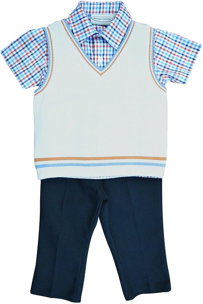 Carriage Boutique Baby Boy 3 Piece Spring Knit Vest Set - Navy Orange Checkered
