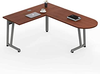 Linea Italia - L Shaped Office Desk, Cherry Laminate, Also Great for Office, Home, Corner or Cubicle, Wire Management, Simple Fast Assembly