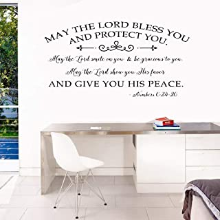 Opiuse Vinyl Wall Decal Wall Stickers Art Decor May The Lord Bless You and Protect You and Give You His Peace for Living Room Bedroom