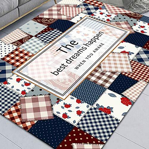Sala De Estar Imitación Cashmere Alfombra Simple Sofá Color Patchwork Color Antideslizante Lavable Alfombra(Size:120x160cm)