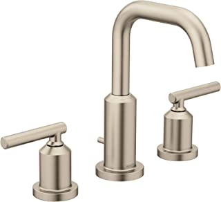 Moen T6142BN Gibson Two-Handle 8-Inch Widespread High Arc Modern Bathroom Sink Faucet, Valve Required, Brushed Nickel