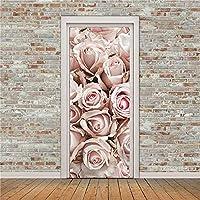 77x200cm 3Dドアステッカー美しい花の壁紙バラのポスターウォールステッカー壁画アートPvc寝室子供部屋ホテル図書館幼稚園のドアポスター-3