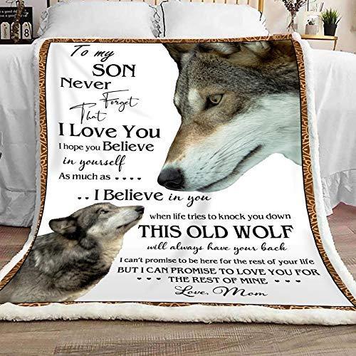 AEMAPE Manta Regalos Hijo Manta para mi Hijo Nunca Olvides Que te Amo Espero Que creas en ti Mismo De mamá Lobo Manta de Lana
