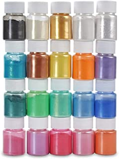Mica Powder, 20 Solid Metallic Colors Bottles Resin Dye Natural Pigments, Glitter, Epoxy Resin Coloring For Soap making, B...