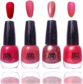 Makeup Mania Premium Nail Polish Exclusive Nail Paint Combo (Maroon Red, Light Brown, Golden Pink, Pack of 4)