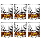 Lead-Free Crystal Whiskey Glasses-10oz Old Fashioned Glasses Crystal Tumblers Drinkware for Whisky Bourbon Scotch Liquor Cocktails - Set of 6 (Type C) (Type C) (A)