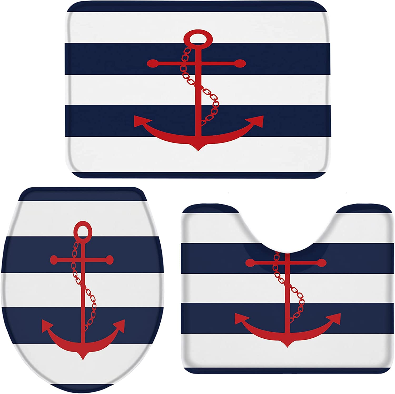 Award-winning store Queenker Navy Blue Stripe Bathroom Rug Set Seat C Piece 3 Toilet OFFicial mail order