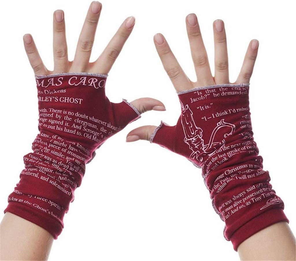 WBDL Women's Winter Gloves Mittens Adult Winter Writing Letter Printed Knitted Fingerless Gloves Sports Riding Fashion Soft Glove