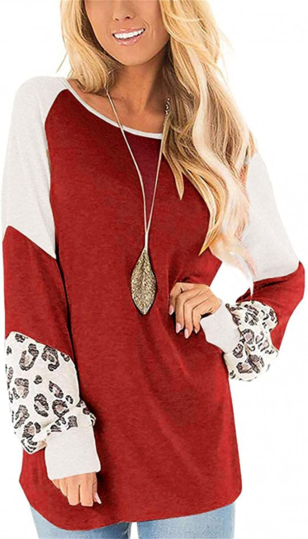 AODONG Womens Color Block Leopard Printed Tops Crew Neck Long Sleeve Sweatshirts Casual Blouses Cheetah Print Shirts