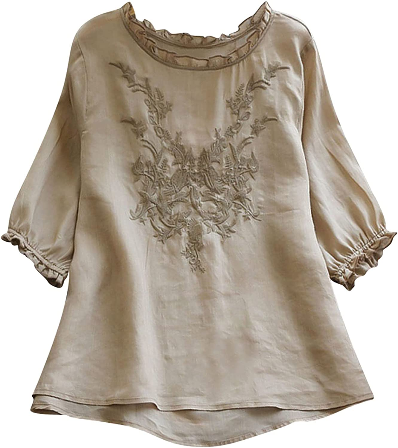 Women Tops Plus Size Fall Shirt Blouse Embroidered Floral Lace Half Sleeve O Neck Pullover Casual Loose T-Shirt
