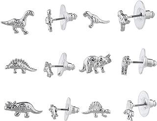 Dinosaur Jurassic Trex T Rex Brontosaurus Stegosaurus Multiple Stud Earrings Set