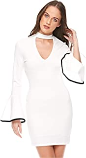 Diva London Bell Frill Sleeve Dress - M