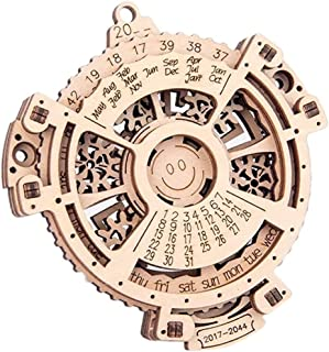 3D Wooden Perpetual Calendar Puzzle,Mechanical Gears Toy Building Set,Brain Teaser Games,Engineering Toys,Family Wooden Cr...