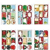 216 Pièces Stickers Étiquettes de Noël Stickers Étiquettes de Cadeaux Auto-Adhésives pour la décoration de Noël Emballage de phoques Étiquettes Autocollants