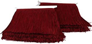 Heartwish268 Fringe Trim Lace Polyerter Fibre Tassel 6inch Wide 10 Yards Long for Clothes Accessories Latin Wedding Dress DIY Lamp Shade Decoration Black White Red(Wine Red)