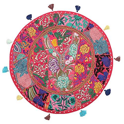 Stylo Culture Decorativo Indio Bohemio Redondo Cojines De Suelo Exterior Patchwork Fundas De Almohadas De Colores Rosado...