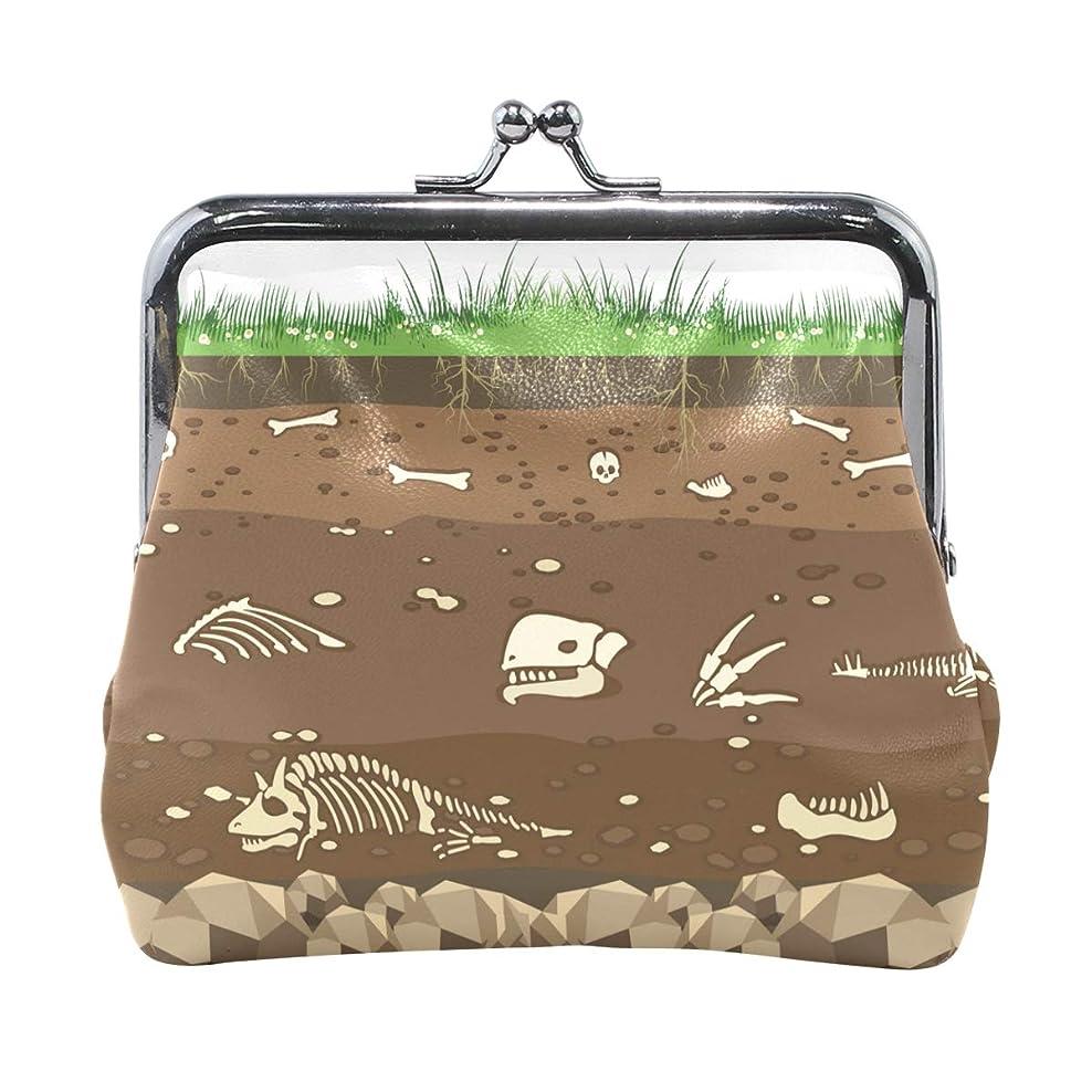 コカイン薄汚いスペースがま口 財布 口金 小銭入れ ポーチ 恐竜 骨 化石 動物 面白い ANNSIN バッグ かわいい 高級レザー レディース プレゼント ほど良いサイズ