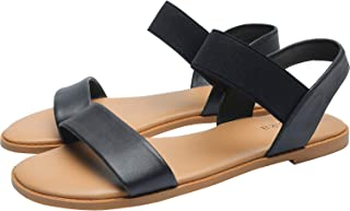 Women's Wide Width Flat Sandals - Classic One Band Elastic Strap Comfortable Summer Shoes.