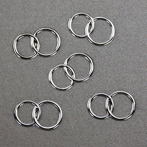 25 x Doppel Ring silber Deko Streuteile Scrapbooking Tischdeko Streudeko Hochzeit