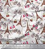 Soimoi Weiß modaler Satin Stoff Eiffelturm, Fahrrad &