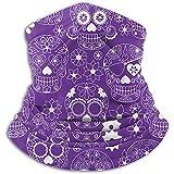 Linger In Cuello Bufanda Floral púrpura Calavera de azúcar Pasamontañas Máscara de esquí...