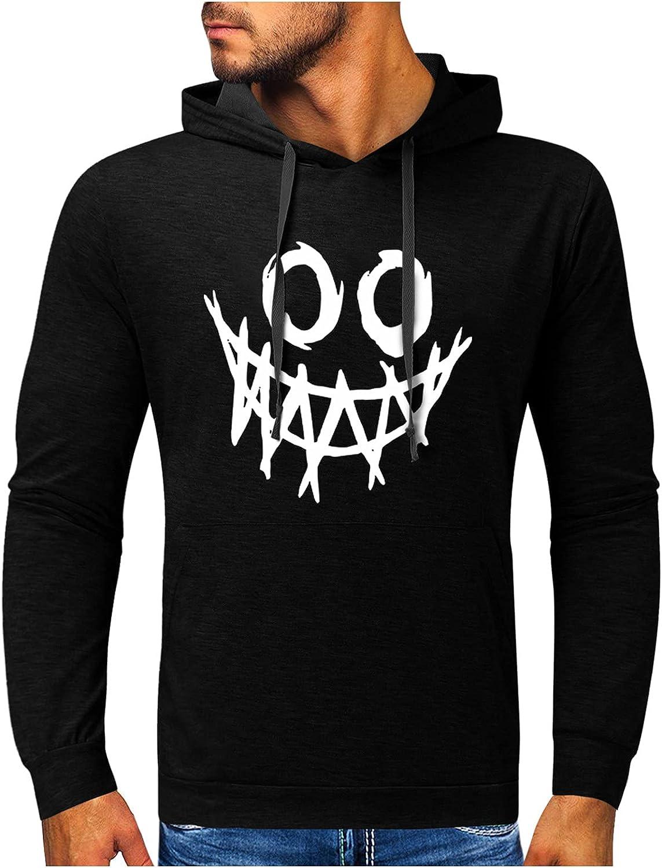 HONGJ Halloween Hoodies for Mens, Funny Skull Street Faith Jesus Cross Hooded Sweatshirts Athletic Basic Casual Pullover