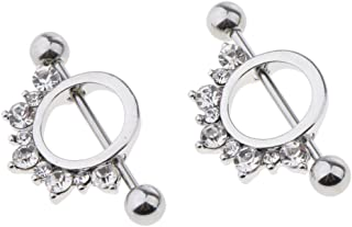 D DOLITY 2pcs Mamilo Ring Nipple Bar Shield Barbell Ring 16g Body Jewelry Rhinestone Decorative