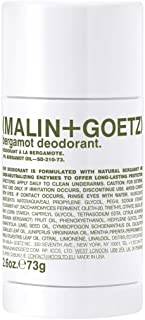 Malin + Goetz Bergamot Deodorant, natural and effective odor + sweat defense for all skin types, no residue, no stains, free of aluminum, alcohol, baking soda, parabens, 2.6 Fl Oz