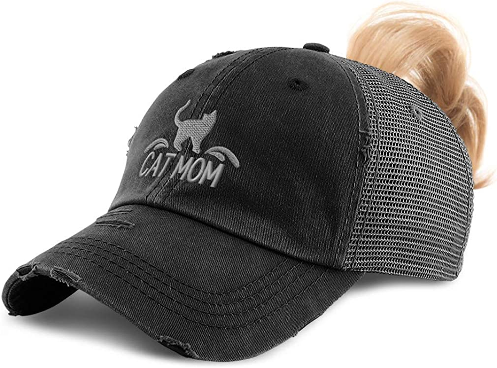 Custom Womens Ponytail Cap Cat Mom and Silhouette C Embroidery Cotton