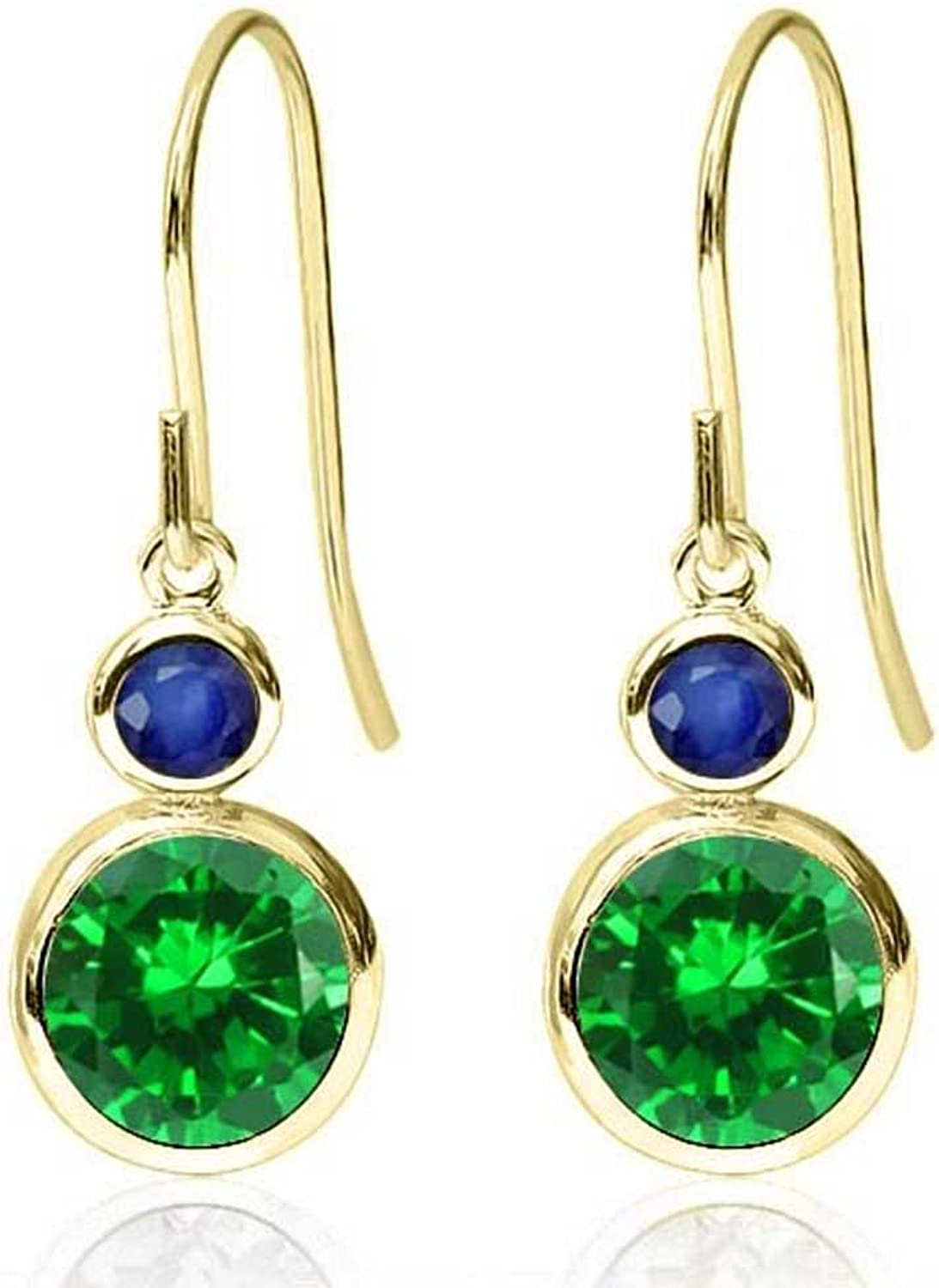 3.26 Ct Round Green Simulated Emerald bluee Sapphire 14K Yellow gold Earrings