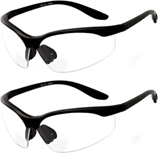 2 Pairs Bifocal Safety Glasses Clear Lens with Reading Corner – Non-Slip Rubber..