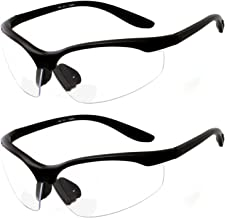 2 Pairs Bifocal Safety Glasses Clear Lens with Reading Corner - Non-Slip Rubber Grip Diopter/+2.50