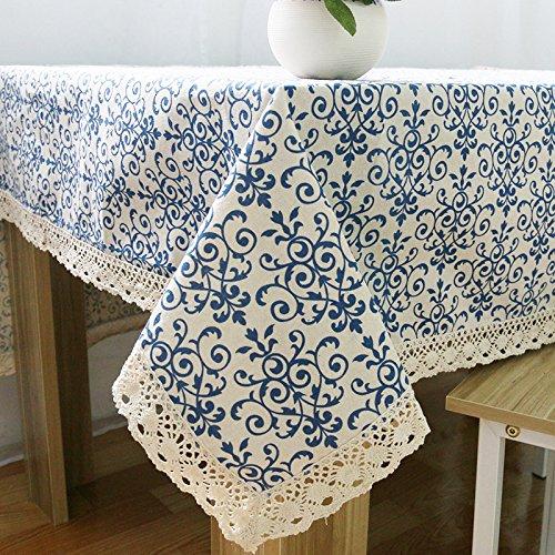 YCZZ Vintage tafelkleed van katoen en linnen, porselein, blauw en wit, klassieke eettafel, tafelloper