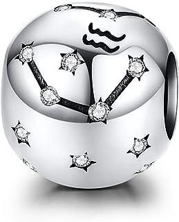 LaMenars 12 Constelación Abalorios Charms Plata de Ley 925, Abalorios de Zodiaco Compatible con Pulsera Pandora & Europeo,...