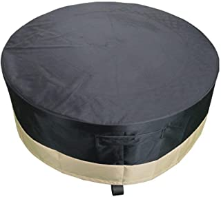 Stanbroil Full Coverage Round Fire Pit Cover/Table, Weather Resistant and Waterproof PVC Material, Black, 50-Inch