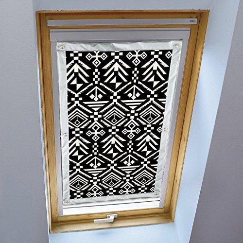 Liveinu Dachfensterrollo für Velux Dachfenster Verdunkelungsrollo Sonnenschutzrollo UV Schutz Thermo Rollo mit Saugnäpfe Ohne Bohren 100% Blickdicht Geometrisches Muster 60 x 115 cm