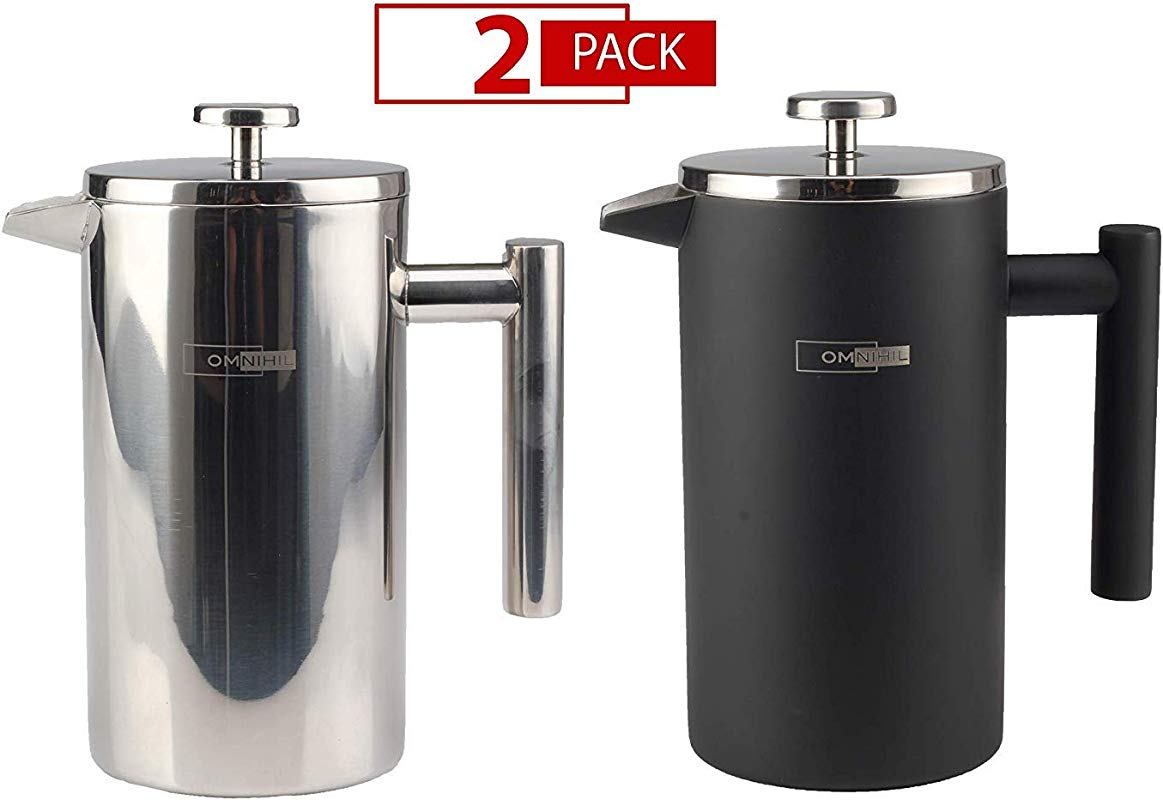 Omnihil 2 PACK Stainless Steel French Press Coffee Maker Stainless Steel BLACK Matte Size 1000ML