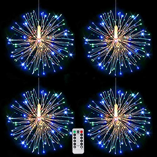 4Pack Fireworks Lights Multicolored, Christmas Starburst String Light USB Powered with Remote,8 Mode,Timer,Dimmable,Copper Wire Fairy String Lights for Garden Wedding Party Indoor Outdoor