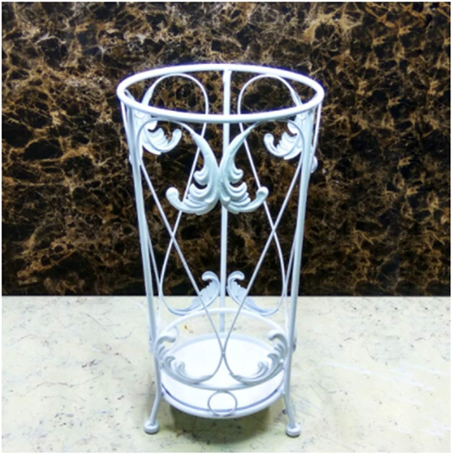 Zr Warm and Simple Carved Wrought Iron Umbrella Stand Home Hotel Large Capacity Storage Rack (color   White)