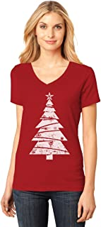 White Distressed Christmas Tree - Xmas Gift Idea Cool V-Neck Fitted Women T-Shirt