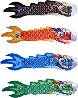 Perfk 4pcs Chinese Dragon Windsock Carp Flag Kite Streamer Boat Decor Hanging Flag