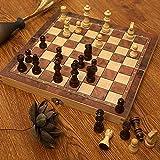 Juego de ajedrez de madera - Piezas de ajedrez hechas a mano - Tablero de ajedrez - Plegable - Espacio de almacenamiento interior - Apto para viaes - Fondo de fieltro - Rey de 3 pulgadas - Piezas