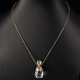 AMOYSTONE Crystal Necklace Clear Crystal Diffuser Necklace Gifts for Women Aromatherapy Necklace