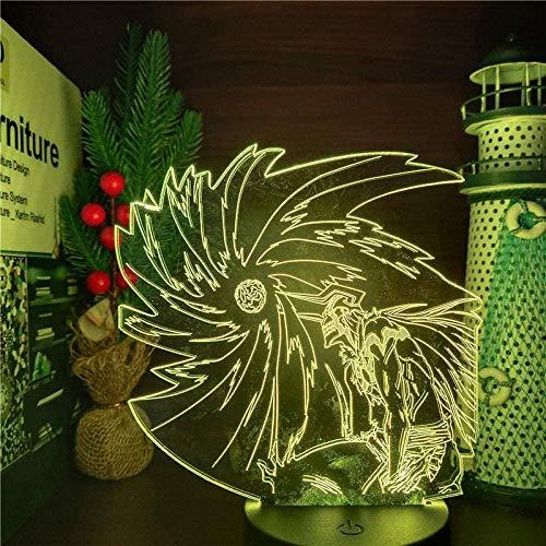 Luz nocturna LED 3D ilusión de Kurosaki Ichigo Ban Kai Anime lámpara de mesa para decoración interior lámpara de mesa infantil cumpleaños vacaciones regalos