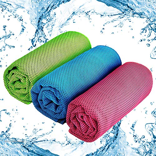 Cooling Towel 3 Pack Ice Towel, Quick Dry Fitness Towel Neckerchief for...