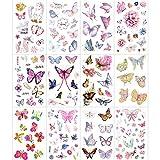 Konsait Kids Tattoos Butterfly Temporary Tattoos Sticker for Girls Children's Birthday Party Bag Filler Gift Idea Party Favors, 154 Pcs Kids Unicorn Butterfly Flower Girls Tattoos