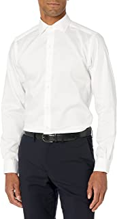 Buttoned Down Mens Tailored-fit Spread-Collar Micro Twill Non-Iron Dress Shirt