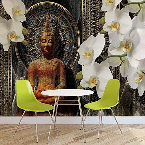 Papel pintado fotográfico con diseño de Buda Zen y flores, orquídeas, mandala, forwall (3162WM), XL, 208 cm x 146 cm, fieltro (instalación sencilla), 2 piezas