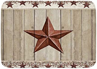 """WINCAN Bath Mat Rug,Rustic Barn Star on Wooden Door Western Texas Star and Primitive Berries on Country Wooden Plank,Plush Bathroom Decor Mats with Non Slip Backing,29.5"""" X 17.5"""""""